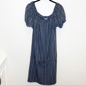 Anthropologie Sunner pinstriped peasant puff dress